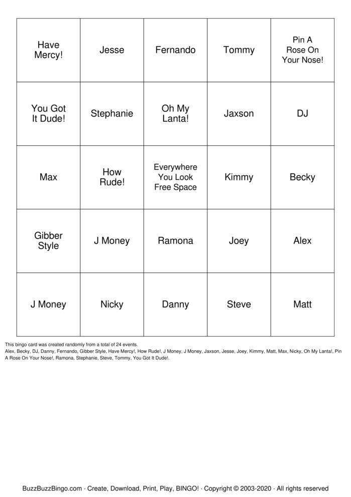 Download Free Fuller House  Bingo Cards