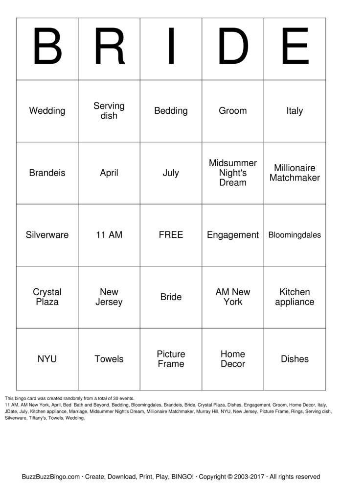 Download Heather's Bridal Shower Bingo Cards
