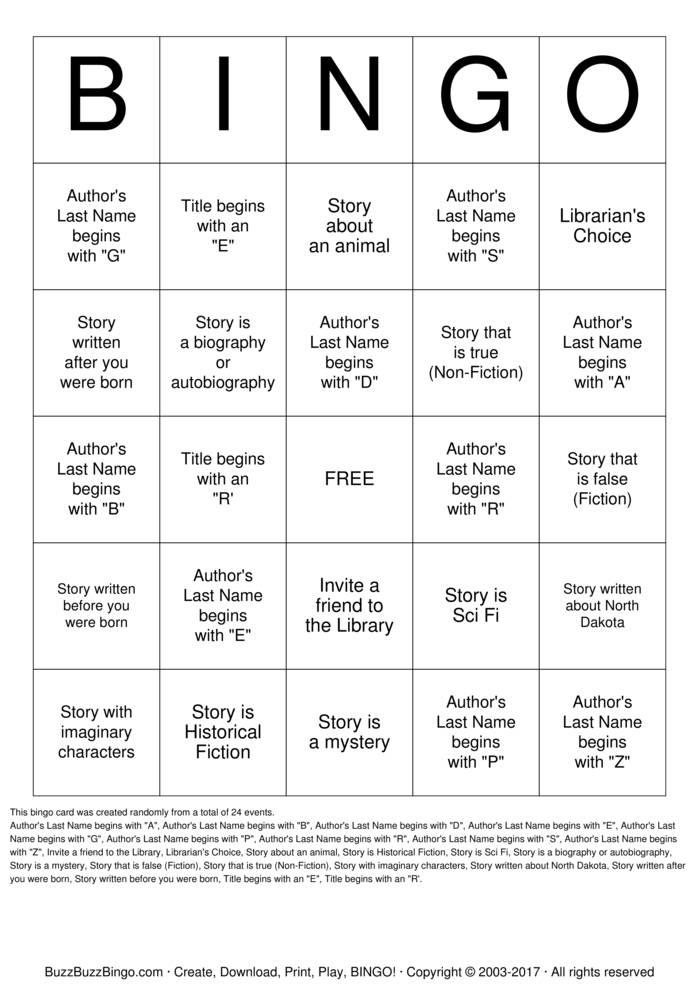 Download Free Library Bingo Bingo Cards