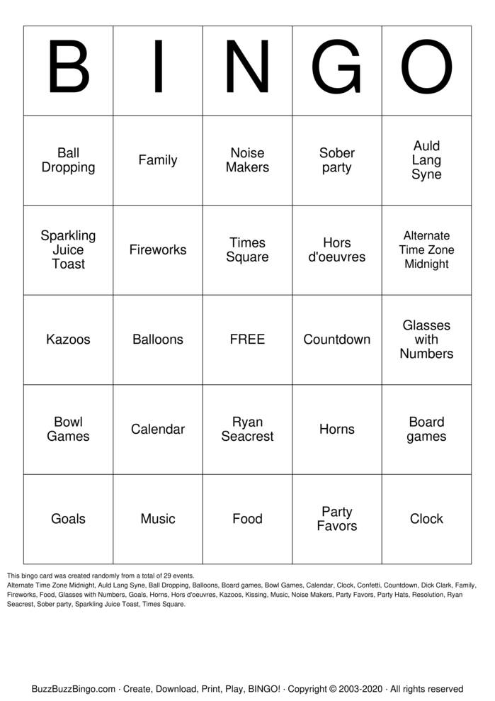 Download Free New Years Bingo Cards