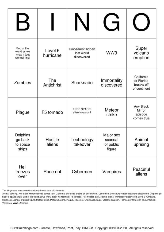 Download Free 2020 APOCALYPSE BINGO Bingo Cards