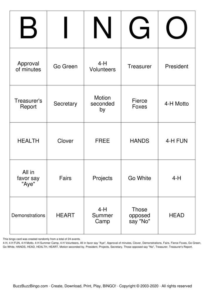 Download Free 4-H BINGO Bingo Cards