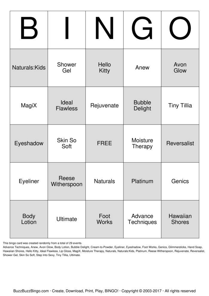 Download Free AVON! Bingo Cards