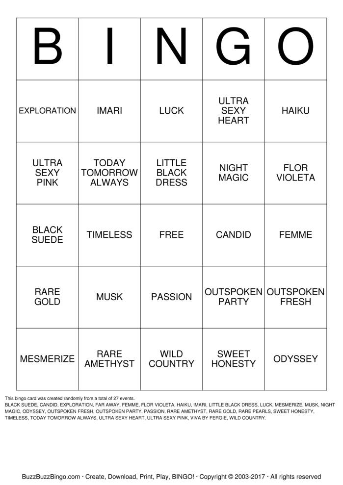 Download Free AVON FRAGRANCE Bingo Cards