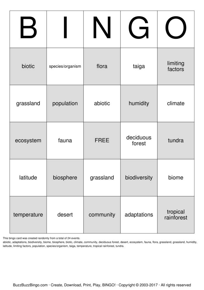 Download Free Biomes and Ecosystems Bingo Bingo Cards