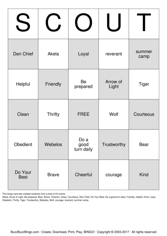 Download Free Cub Scout Bingo Cards