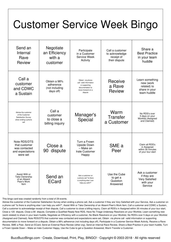 Download Customer Service Week Bingo Bingo Cards