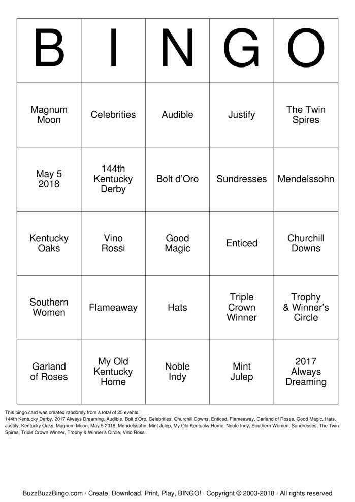 Download Free DERBY Bingo Cards