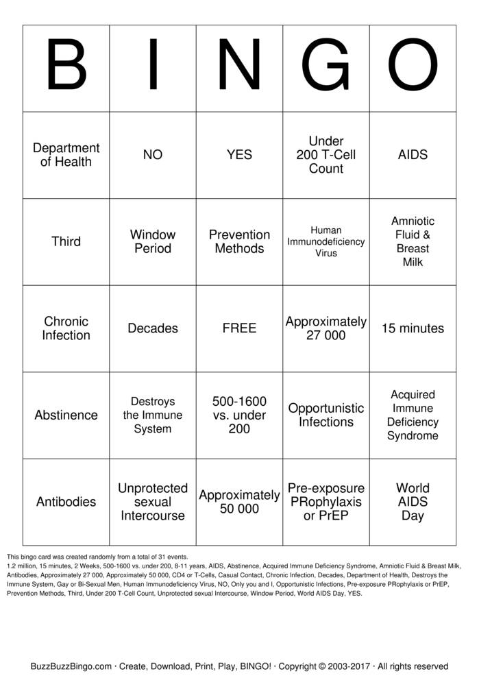 Download HIV  Bingo Cards