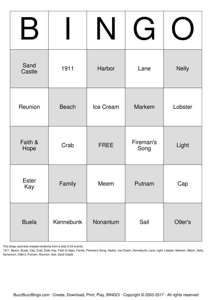 Download Free Harbor Light Family Reunion Bingo Cards