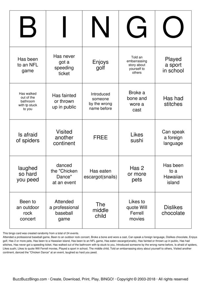 Download Herzinger Reunion Human BINGO Bingo Cards