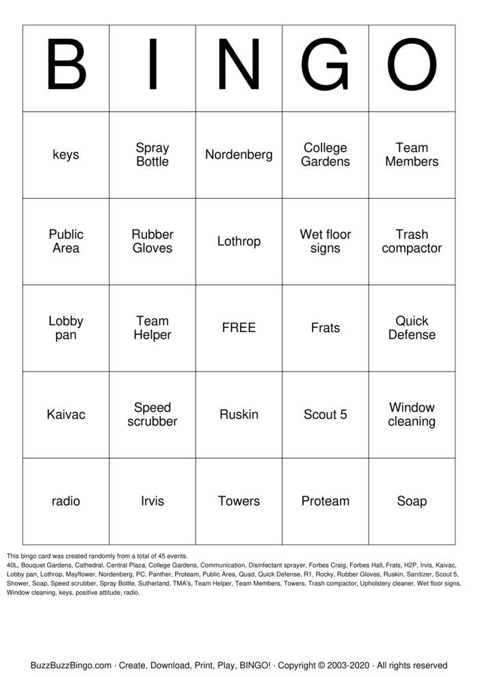 Download Free Housekeeping Week Bingo Cards
