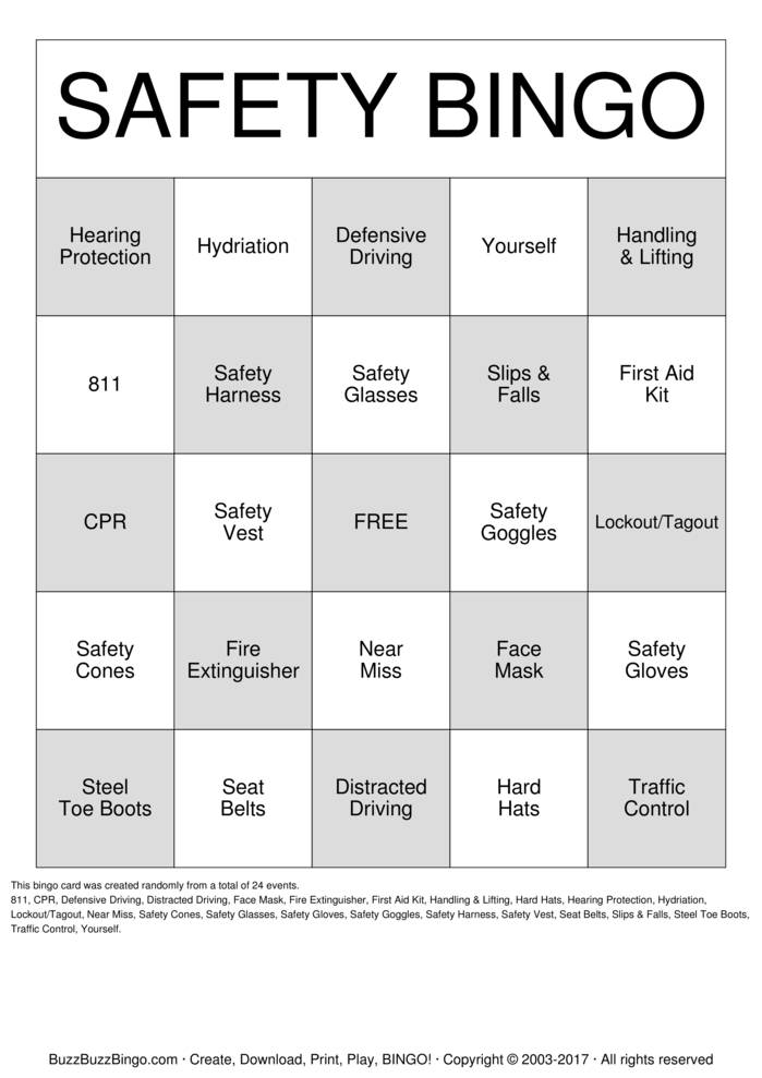Download Free Safety Bingo Cards