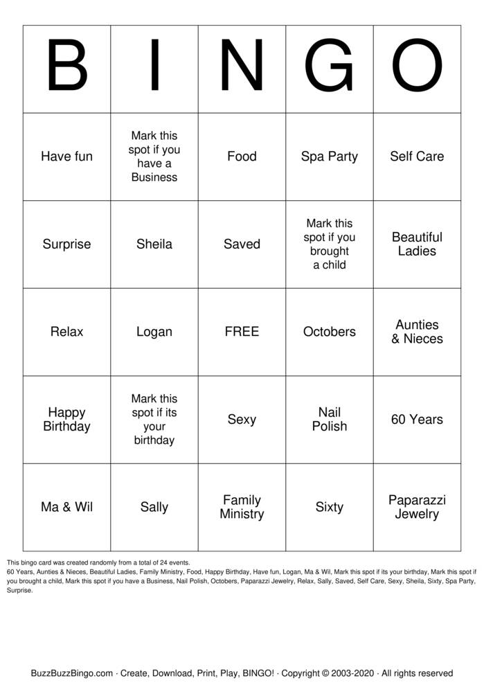 Download Free Sheila's Saved Sexy & Sixty Spa Party Bingo Cards