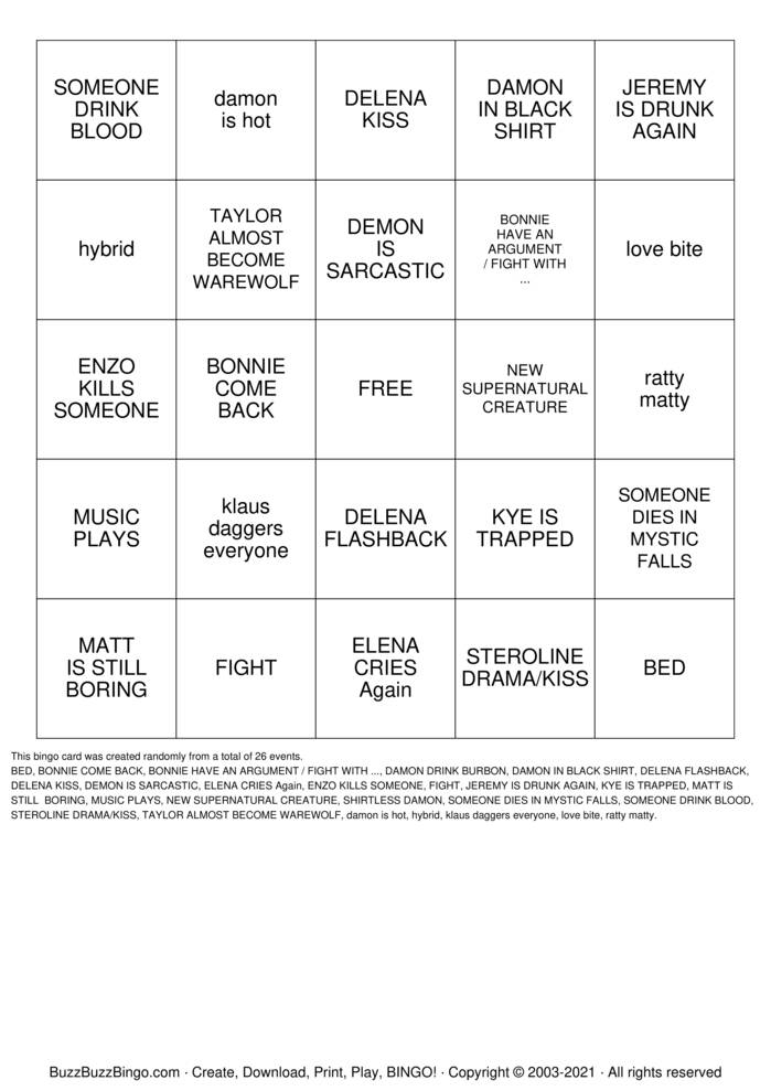 Download Free THE VAMPIRE DIARIES Bingo Cards