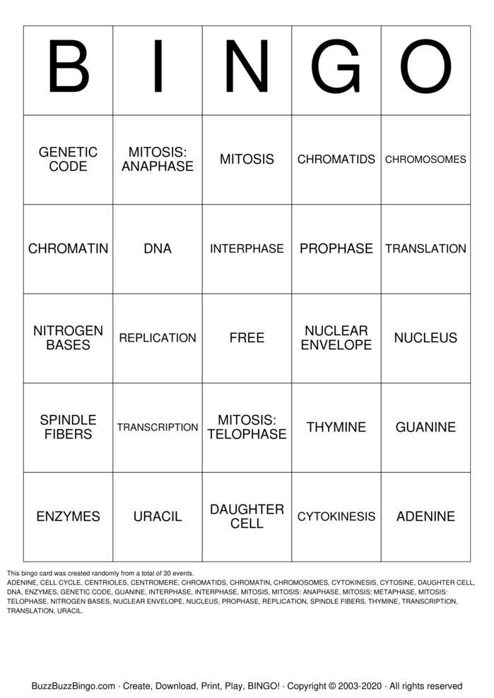 Download Free mitosis Bingo Cards