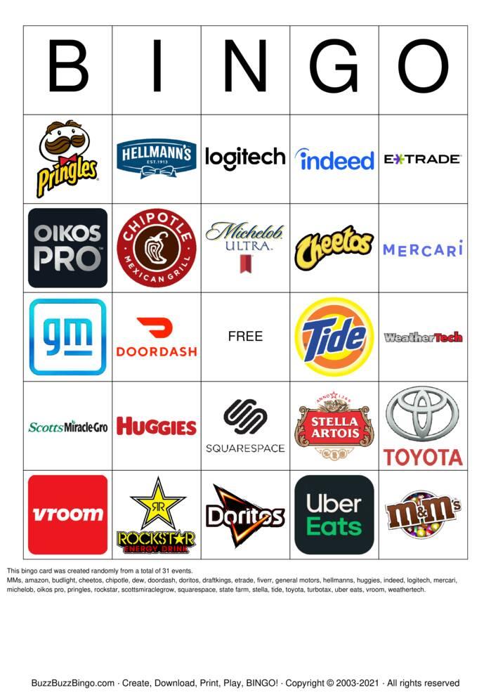 Download Free 2021 Superbowl Commercial Logos Bingo Cards