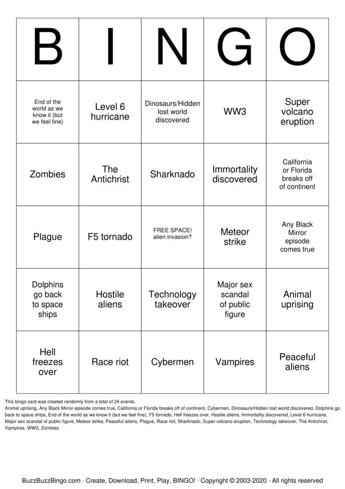 Download Free APOCALYPSE BINGO Bingo Cards
