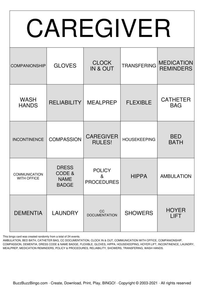 Download Free CAREGIVER  Bingo Cards