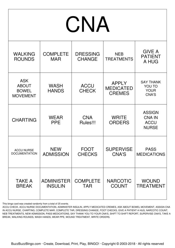 CNA Bingo Cards To Download Print And Customize