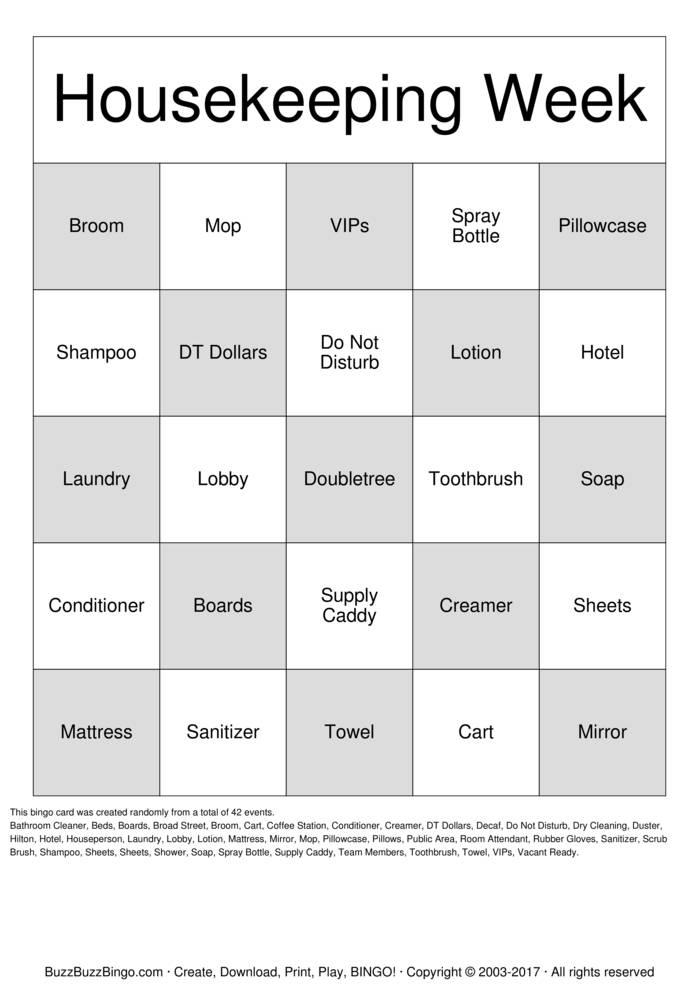 Housekeeping  Bingo Card