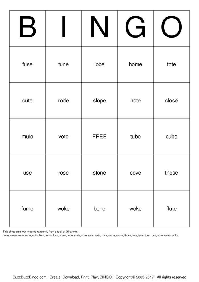 Download Free Long Vowel Sounds Bingo Cards