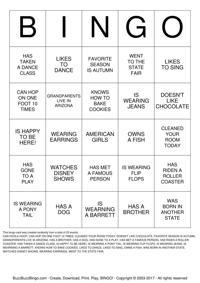Download Free NICE TO MEET YOU Bingo Cards