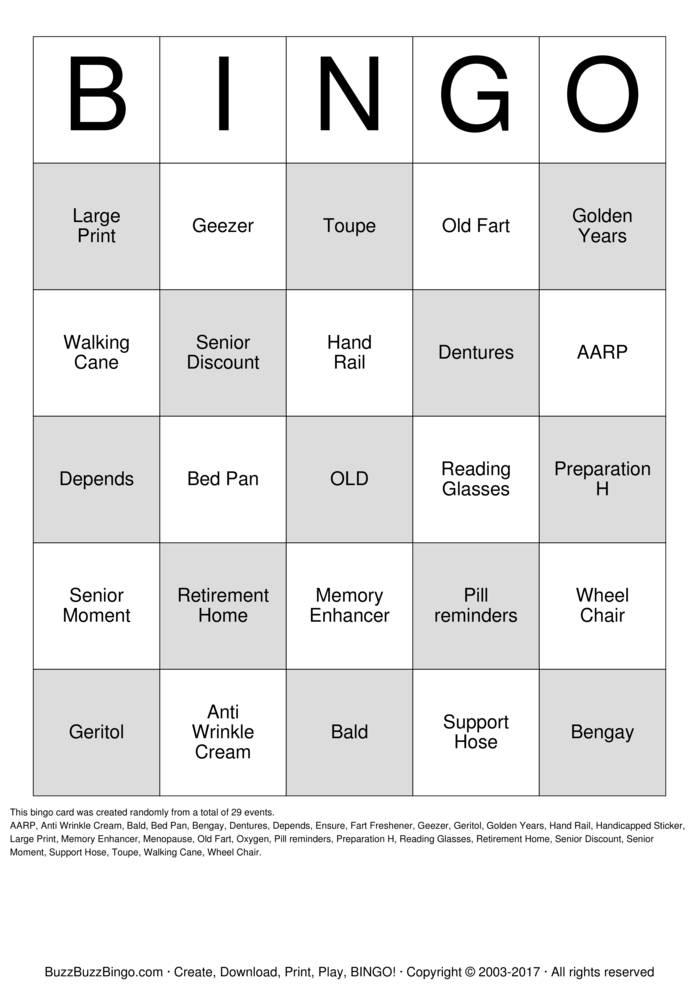 Download Free Old Fart Bingo Cards