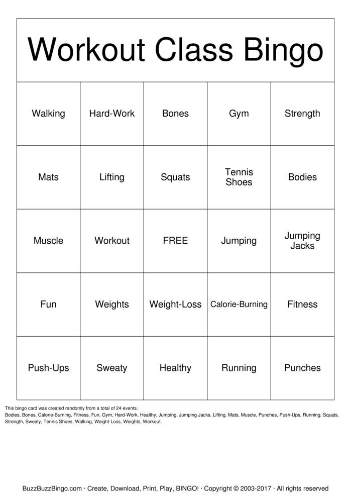 workout Bingo Cards to Download, Print and Customize!