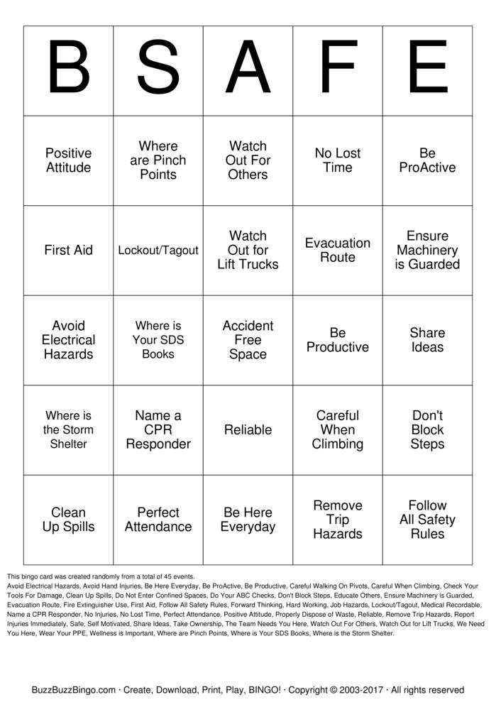 Download AST Attendance /Safety Bingo Bingo Cards