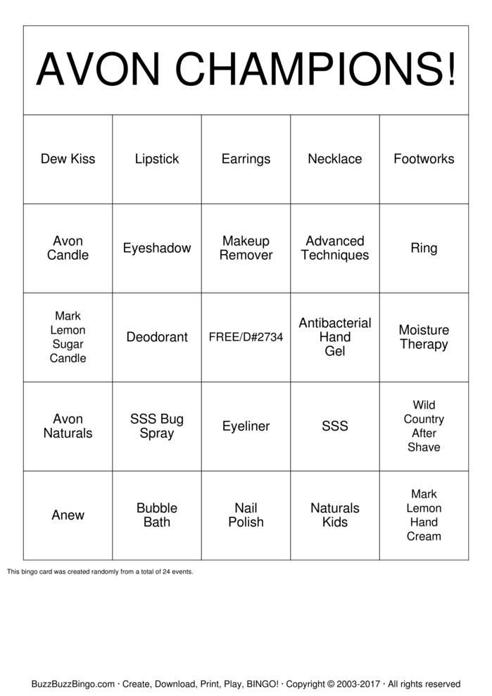 Download Free AVON #2734 Bingo Cards