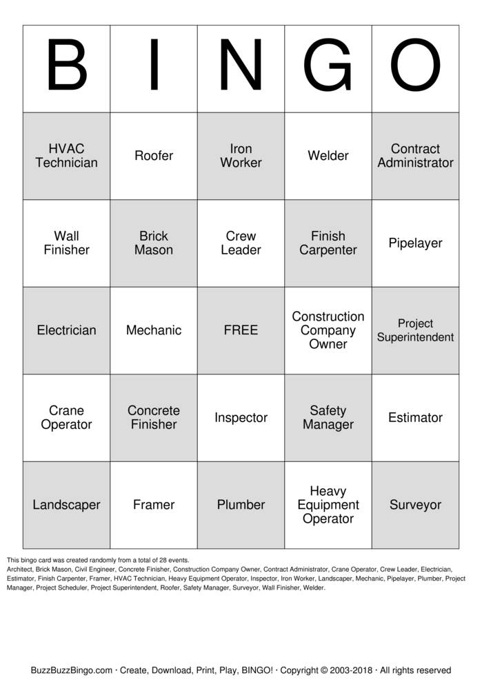 Download Free Construction Bingo Cards
