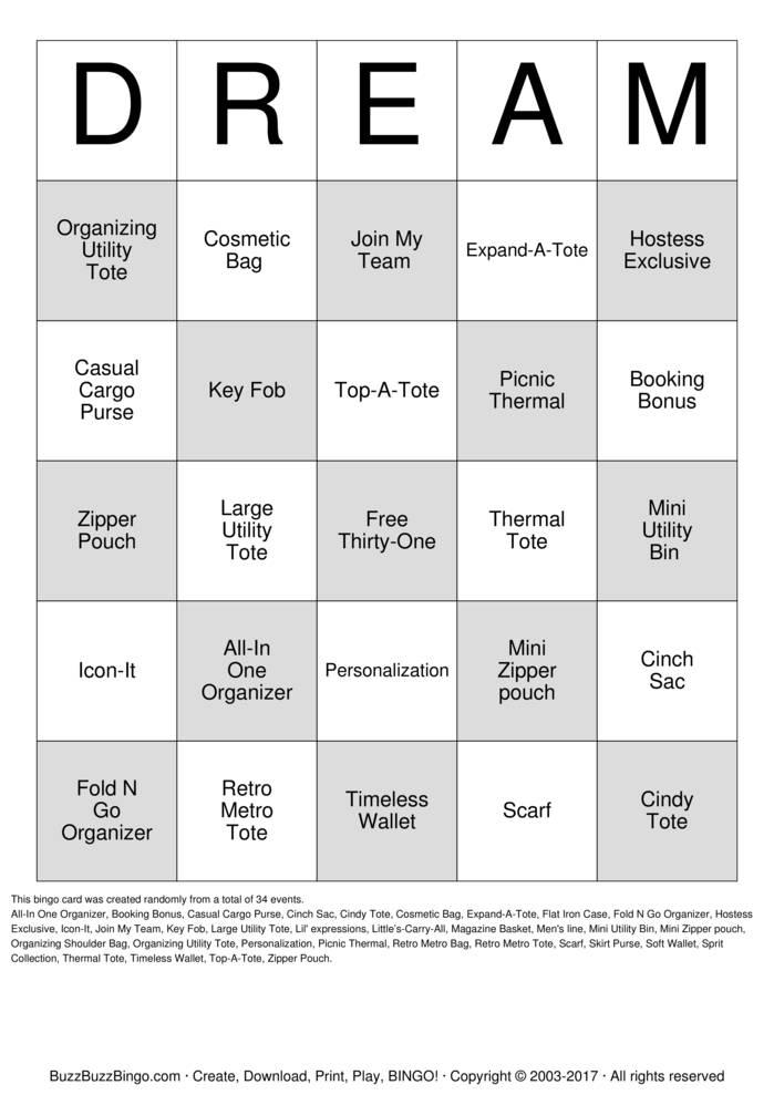 Download Free DREAM Bingo Cards