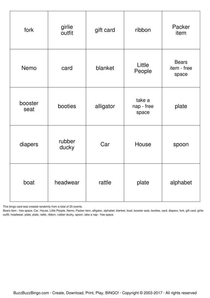 Download Free Finding Nemo Bingo Cards