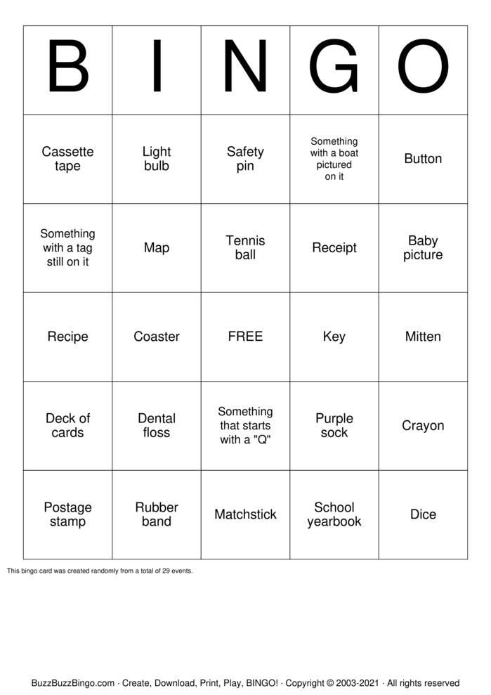 Download Free Home Scavenger Hunt Bingo Cards