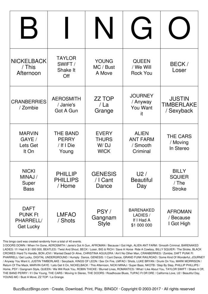 Download MUSIC BINGO#3 Bingo Cards