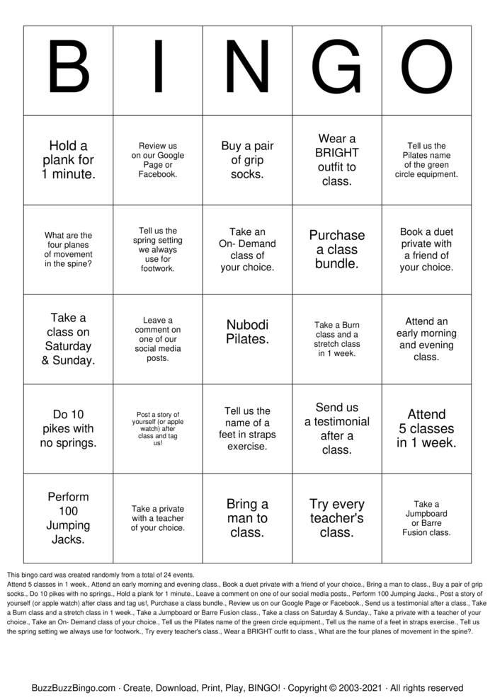 Download Free Nubodi' Bingo Bingo Cards