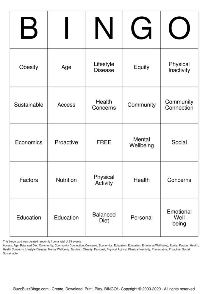 Download Free Sustainability Health  Bingo Cards