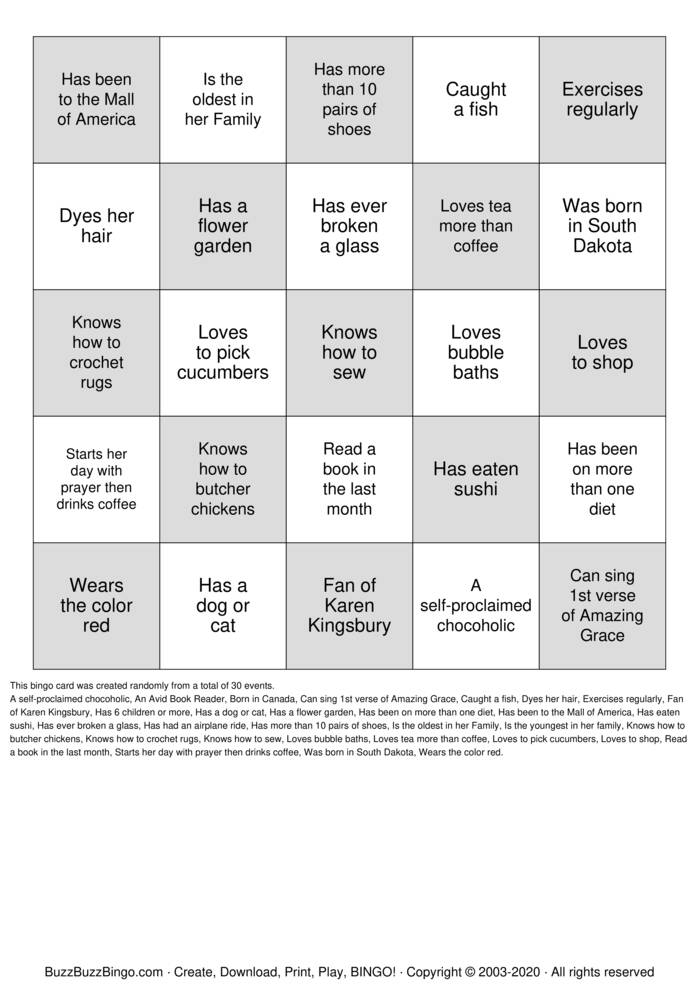 Download Free WOMEN'S MINISTRY BINGO Bingo Cards