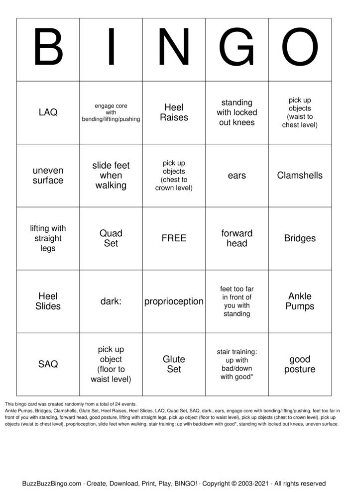 Download Free  physical therapy Bingo Cards