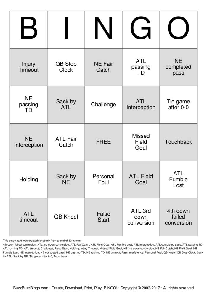 Download Free 2017 Superbowl NE vs ATL Bingo Cards