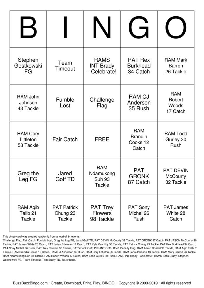 Download Free 2019 Superbowl NE vs LAR Bingo Cards