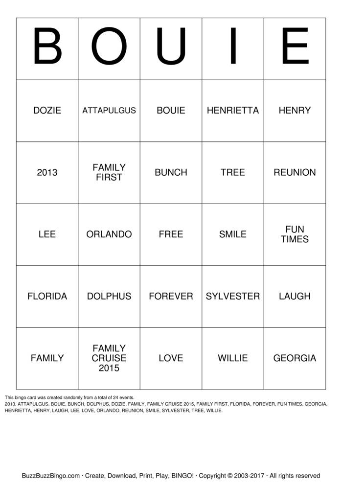Download Free BOUIE  Bingo Cards