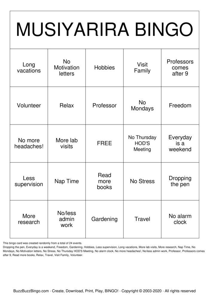 Download Free FAREWELL PROF MUSIYARIRA Bingo Cards