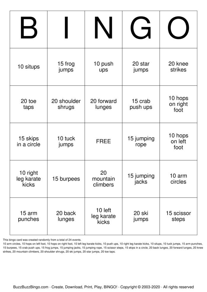 Download Free FITINGO # 1 Bingo Cards