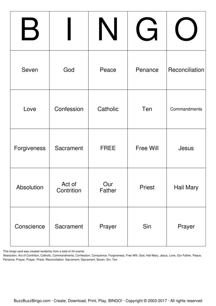 Download Free First Reconciliation Bingo Cards