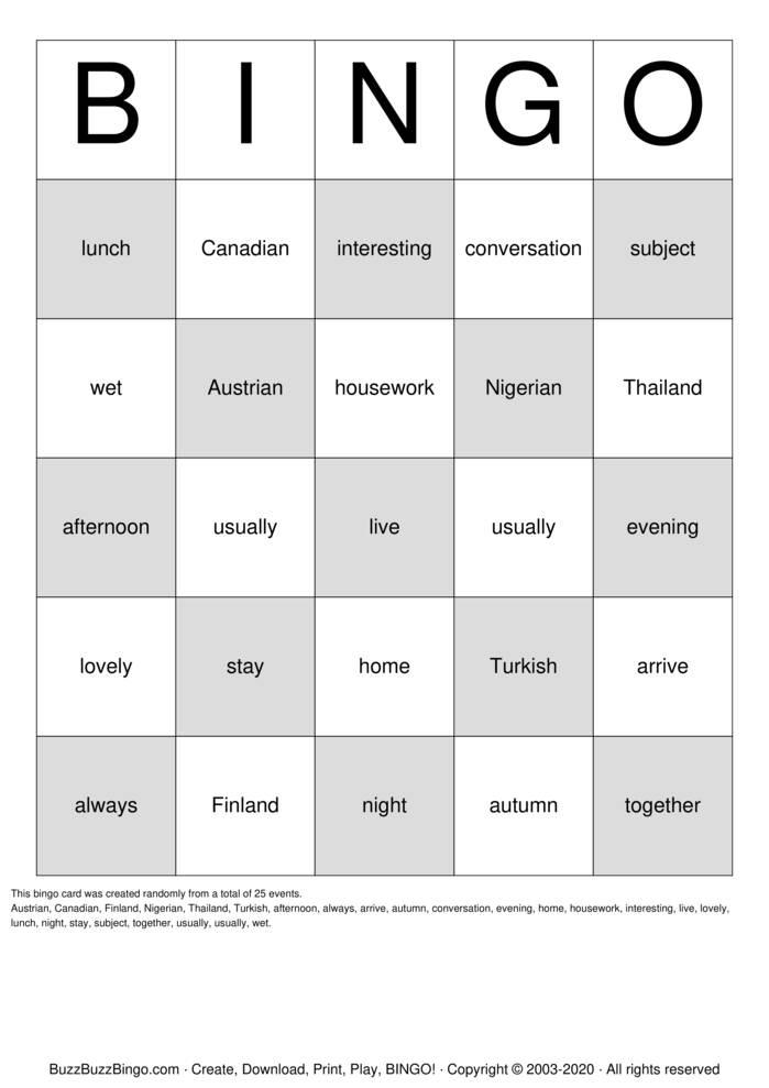 Download Free Game Bingo Cards