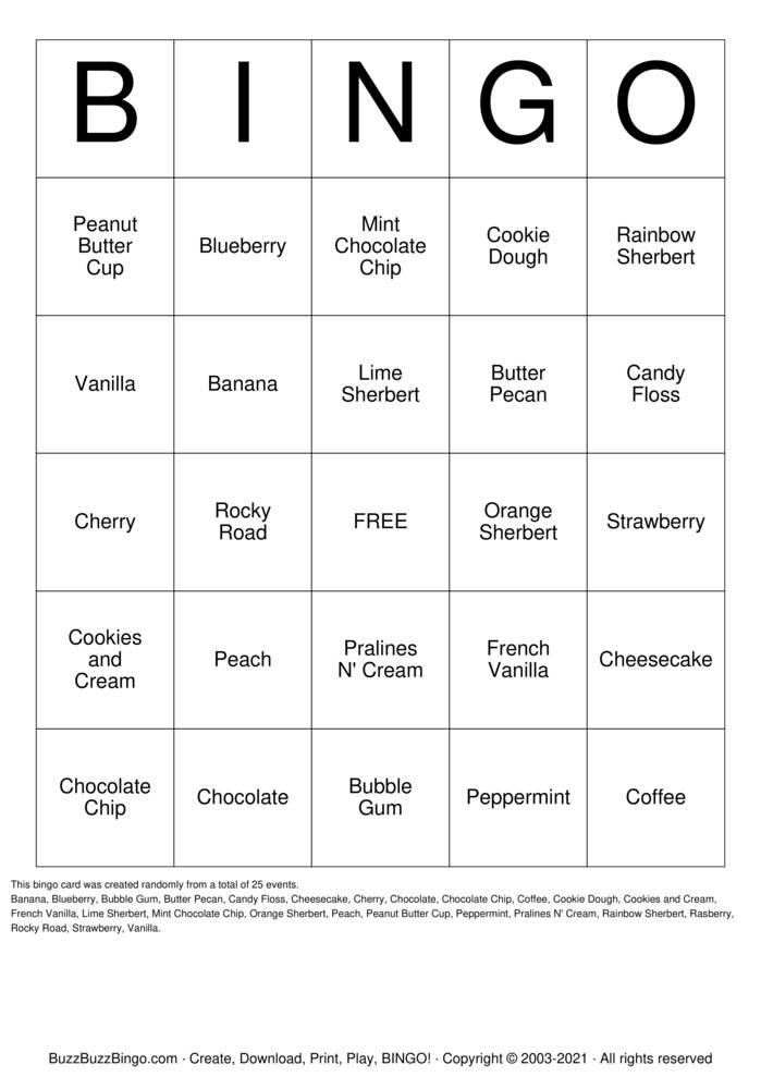 Download Free Ice Cream Bingo Bingo Cards