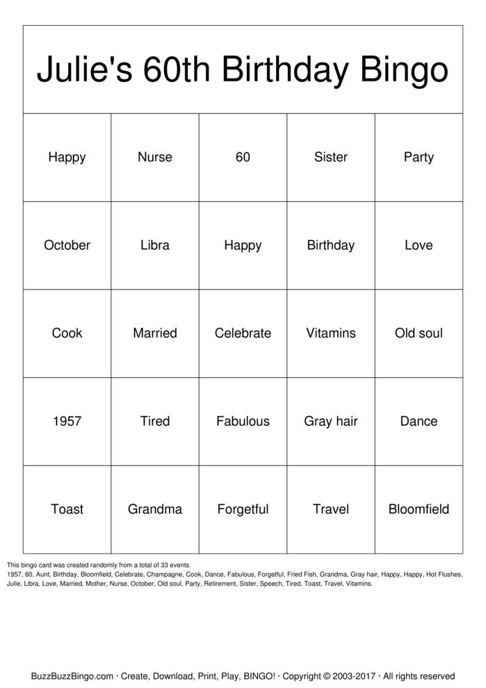 Download Julie's 60th Birthday Bingo Bingo Cards
