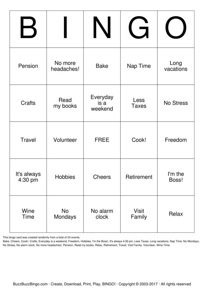 graphic about Retirement Party Games Free Printable identified as Retirement Bingo Playing cards towards Obtain, Print and Customise!